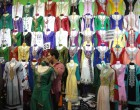 Saris for sale, Hari Raya market in Geylang 2012