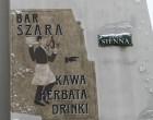 Szara vintage street sign