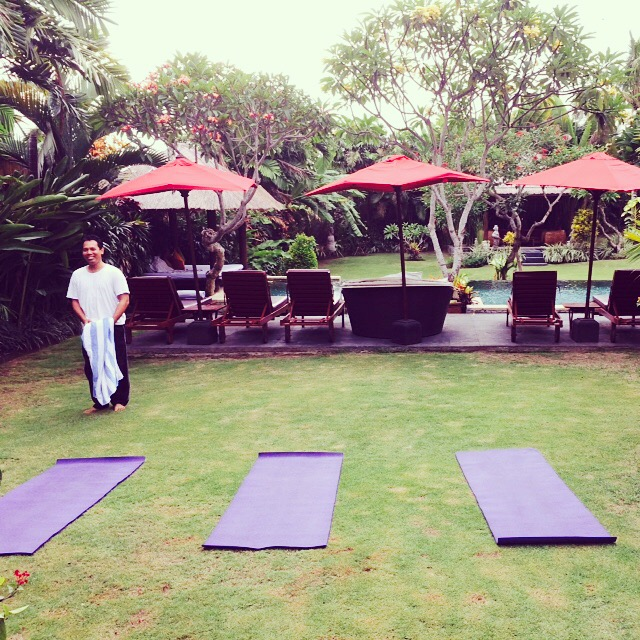 Yoga in the ground of our villa just outside Seminyak, Bali