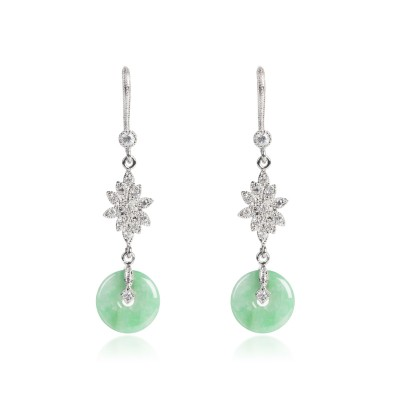 June jade and zirconia earrings