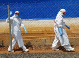 Dr Jamie Whitehorn at an Ebola Treatment Centre