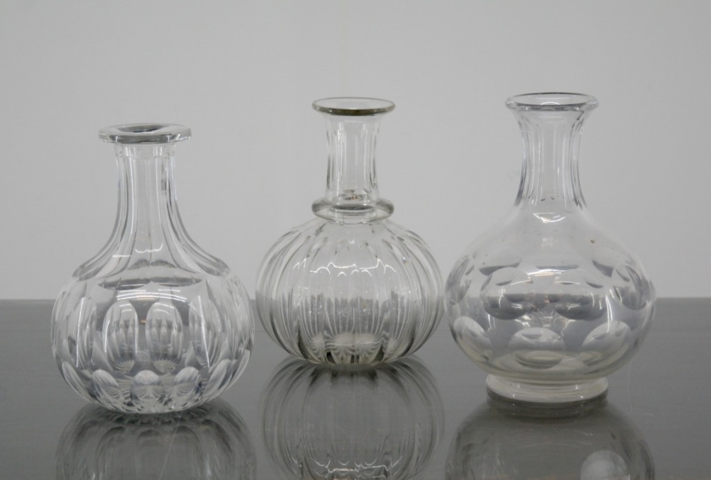 Cut glass decanters and vintage vases